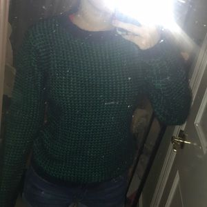 Navy and green vintage sweater